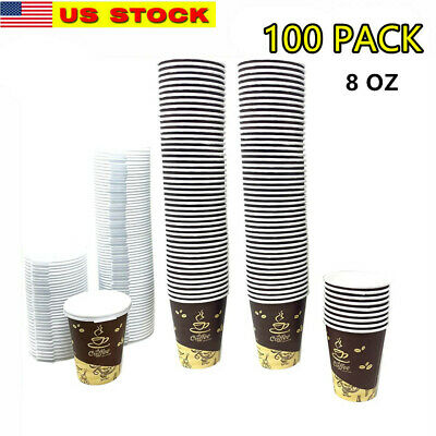 100 Pack Quality Disposable Paper Hot Coffee Cups with Lids- USA SELLER