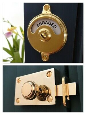 Brass Indicator Bolt Vacant Engaged Toilet Bathroom Lock Door Handles Knobs