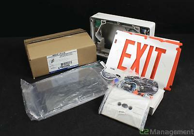 Lot of 4 New Lightalarms NEMA-4X LED Exit Signs White Single Face Red 120-277VAC