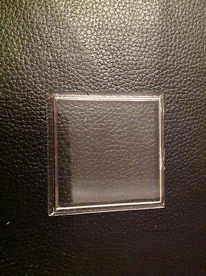Vintage Clock Acrylic Glass 56mm Square Stepped New Old Stock