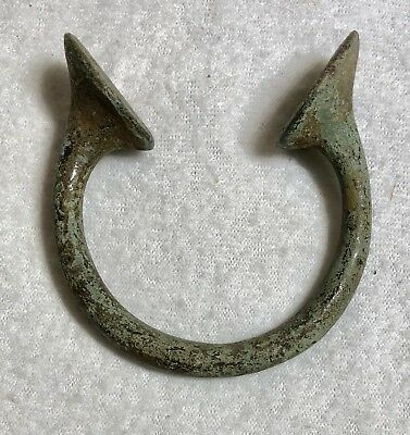 Rare Antique Bronze Verdigris Patina Tribal African Currency Cuff Bracelet