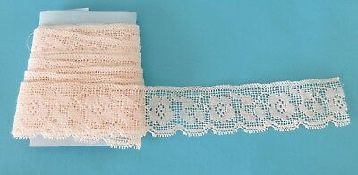 """Vintage Off White Edwardian Floral  Lace - 100 inches x 1"""""""