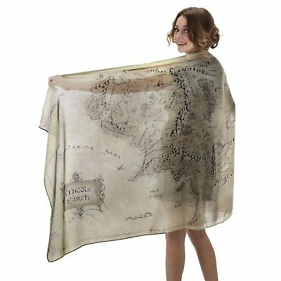Official Lord Of The Rings Hobbit Middle Earth Map Scarf Costume Tolkien Gift