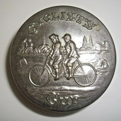 Antique 1897 Victorian Cyclists Cup Expandable Bicycle Cup Embossed Cover