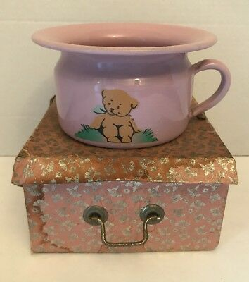 Vintage Pink Enamel Chamber Pot SMALL Baby Toddler Nursery Child Hand Painted