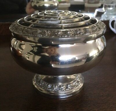 Antique / Vintage Footed Silver Plate LARGE IANTHE Rose bowl, Posy bowl ENGLAND