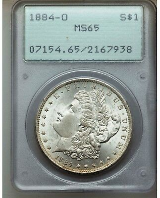 1884-O  MORGAN SILVER DOLLAR - PCGS MS65, RATTLER OGH 1st GENERATION - A BEAUTY