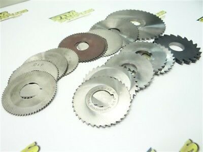 """Lot Of 15 Hss Slitting Slotting Saws .032"""" To 1/4"""" Widths W/ 1"""" Bores"""