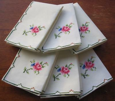 Set of Six Vintage Hand Embroidered Cross Stitch TABLE NAPKINS 'Never Used'