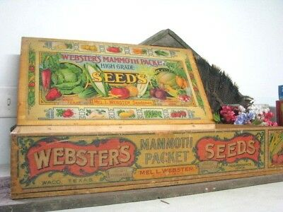 Antique Webster's Mammoth Packet Seed Store Display Box Vintage independence IW