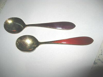 Norway Sterling Silver N.m. Thune 2 Spoons Enameled Handles Near Mint Beautiful