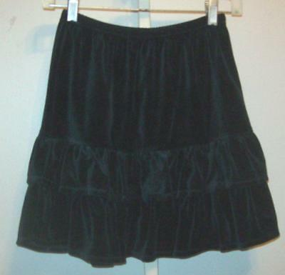 Hanna Andersson Girls Size 140 10 12 Black Velour Ruffle Tiered Skirt NEW