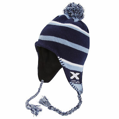 Ladies/Womens Scotland Flag Blue Winter Hat, Thermal Peruvian Hat with (HA307)