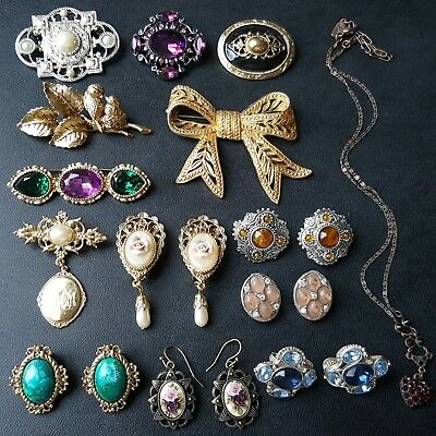 ALL Signed & Unsigned 1928 Vtg Brooch Pin Earrings Necklace Lot STUNNING! OO12