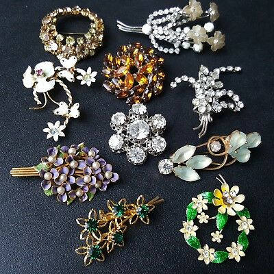 ALL Signed & Unsigned AUSTRIA Vintage Brooch Pin Lot Crystal Enamel Flower OO13