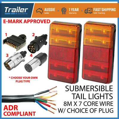 Pair Of Led Trailer Lights, 1 X Plug, 8M X 7 Core Wire Kit Complete Boat Light