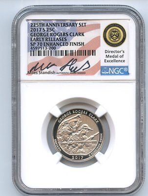 2017 S 25C George Rogers Clark Quarter Enhanced NGC SP70 Miles Standish