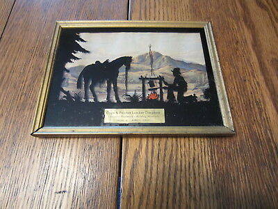 Vintage Advertising Picture  Reverse Cowboy Cooking Scene Cage Fulcher Lumber Bl