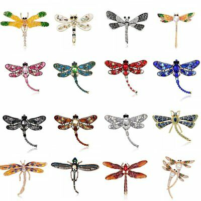 Fashion Women Animal Dragonfly Pearl Rhinestone Brooch Pin Necklace Jewelry Gift