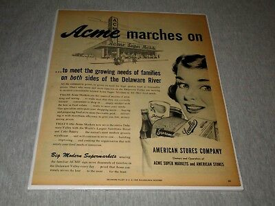 ACME MARKETS-ACME MARCHES ON-SUPERMARKETS-MID-CENTURY-1950s ERA PRINT AD