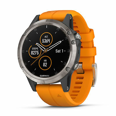 Garmin fenix 5 Plus 47mm Sapphire Multisport GPS Watch Titanium/Spark Orange