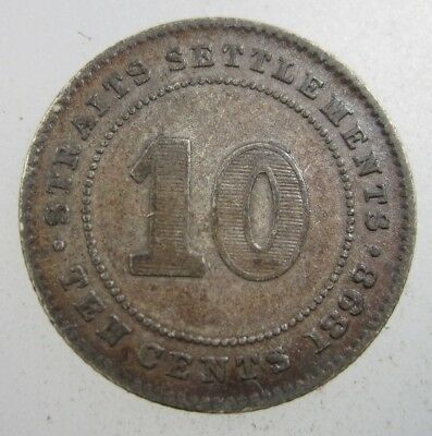 Straits Settlements British 10 Cent 1898 Silver Malaysia Singapore 46# Coin