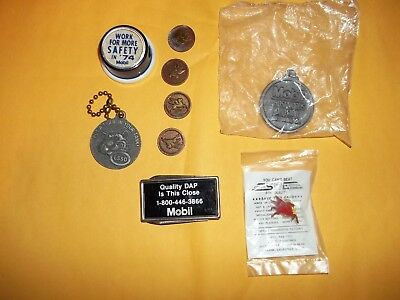 Gas Station Items--8 Mobile Oil And One Esso---Vintage