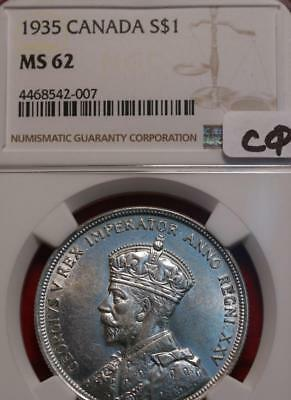 1935 Silver Canada $1 Coin NGC Graded MS 62