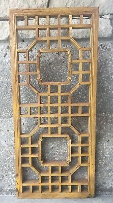 Chinese Antique Natural Wood Carving Panel With Old Yellow Paint