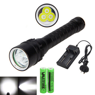 10000lm XM-L T6 LED Diving Scuba Flashlight Torch Lamp Underwater 100M 2*18650 D