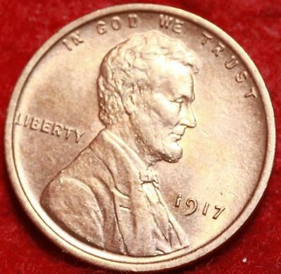 Uncirculated Red 1917 Philadelphia Mint Copper Lincoln Wheat Cent