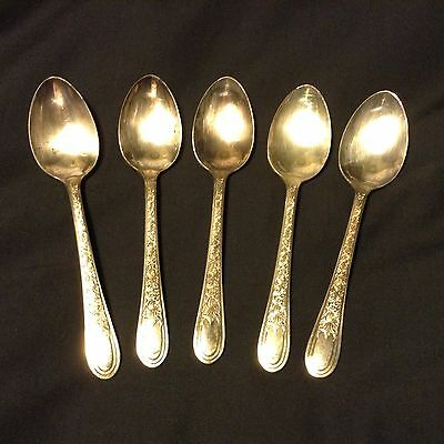 """5-6"""" Teaspoons FORTUNE by WALLACE BROTHERS Overlaid Silverplate 1932 roses"""