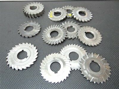 """Lot Of 12 Assorted Hss Straight Tooth Milling Cutters 1/16"""" To 11/16"""" W/1"""" Bore"""