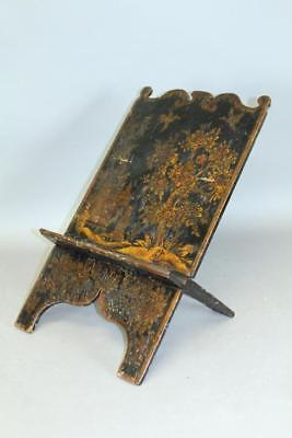 Rare 18Th C Ma William & Mary Bible Stand With Its Original Japanned Decoration