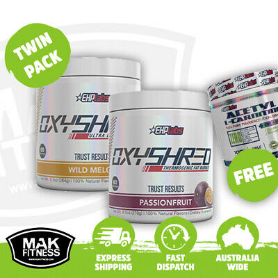 EHPLABS Oxyshred Twin Pack + Free EHPLABS Acetyl L-Carnitine EHP Labs Oxy Shred