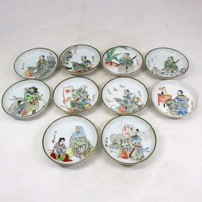 D205: Japanese OLD SETO painted porcelain 10 plates with popular E-GAWARI style