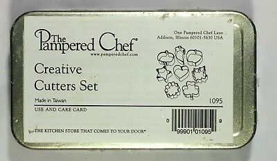 The Pampered Chef Mini Creative Cookie Cutters 8 Pc Set Tin Assorted 1095 New