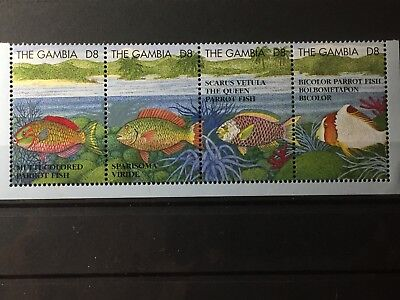 Scott #1622A-D Gambia Strip Of 4 Stamps Mnh Fish