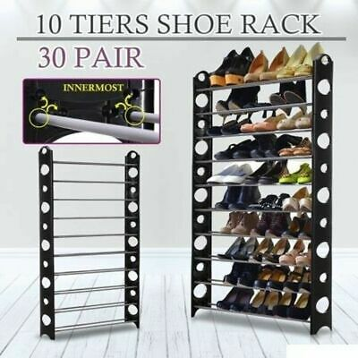 10 Tier Shoe Rack Cabinet Storage Organiser Stand with Waterproof Cover
