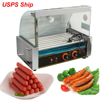 Commercial 18 Hot Dog 7 Roller Grill Cooker Machine 1050W w/ Cover & Drip tray