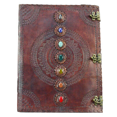 "Extra Large 7 Chakra Stone Wicca Book of Shadows Huge 18"" Wiccan Leather Journal"