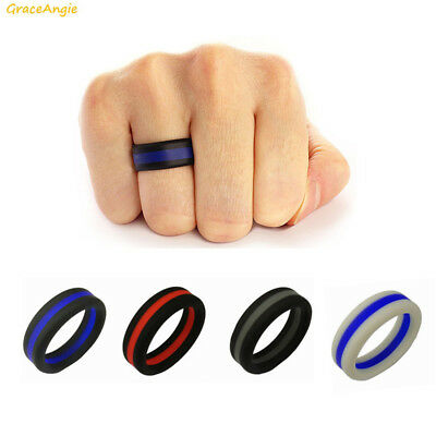 8mm Red Line Fireman Cross Fit  Gym Yoga Mens Silicone Rubber Wedding Band Ring