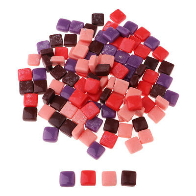 110pcs Square Shape Vitreous Glass Mosaic Tiles Tessera DIY Craft Multicolor