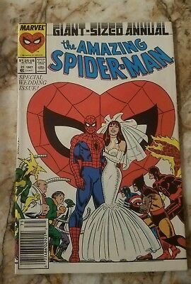 Amazing Spider-Man Annual #21 Vf Mj Peter Wedding Issue Giant Size Comic 1
