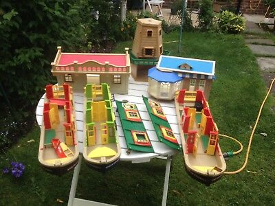 Joblot Of Vintage Sylvanian Families Canal Boats Windmill Cafe Hall