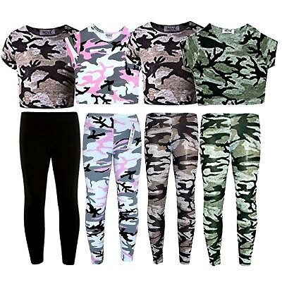 Girls Crop Top & Legging Set Kids Summer Camouflage Fashion Outfit Set