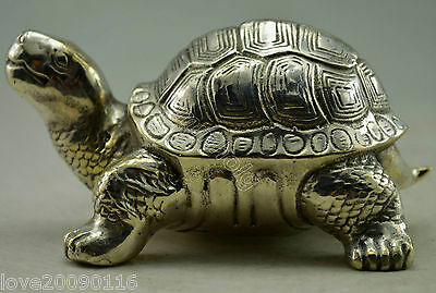 Collectible Decorated Old Handwork Miao Silver Carved Tortoise Turtle Statue