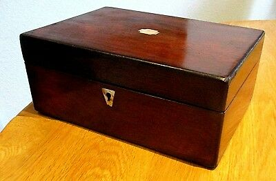 Victorian Rosewood Veneer Sewing/jewellery Box,m.o.p.red Lined Interior.