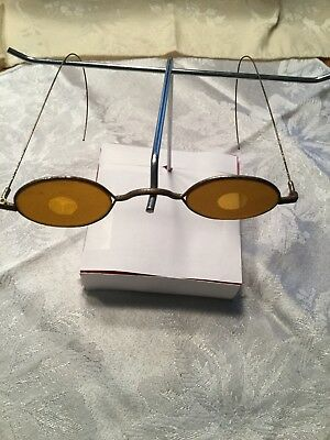 Antique Amber eyeglasses with etched lenses. Shooting glasses.