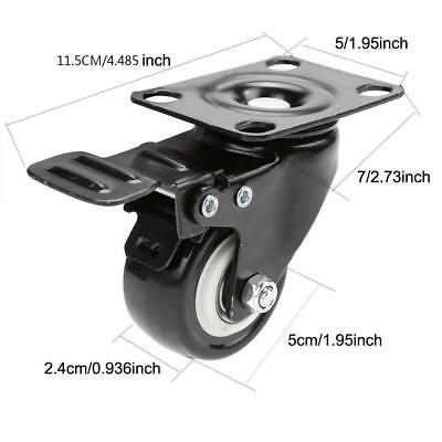 """4Pack 2"""" Swivel Caster Wheels Rubber Base with Top Plate & Bearing Heavy Duty"""